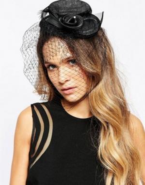 Neve & Eve Вуалетка со шляпкой. Цвет: черный