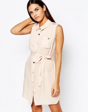 Club L Платье-рубашка без рукавов. Цвет: розовый
