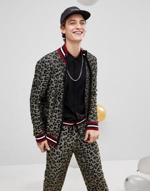 ASOS Трикотажная спортивная куртка с леопардовым принтом и эффектом металли. Цвет: золотой