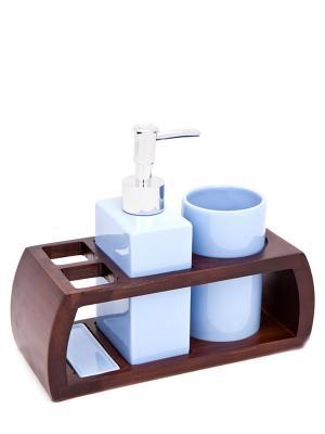 Набор для ванн из 3 предметов (подставка, дозатор, стакан) Blonder Home. Цвет: голубой