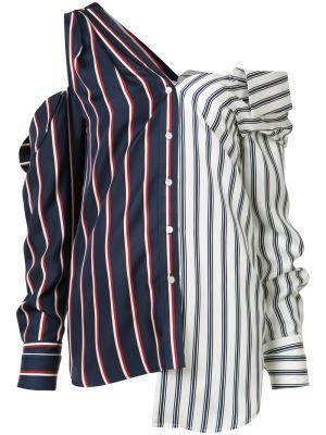 Полосатая блузка с открытыми плечами Monse. Цвет: синий