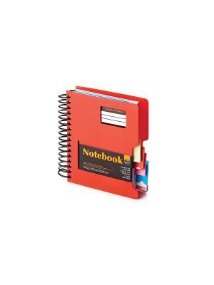 Бизнес-блокнот-1 а6, 200 л. гр., разделители,пластиковая обл. ultimate basics, красный Альт. Цвет: красный