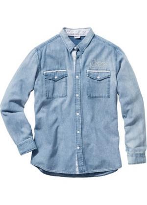 Джинсовая рубашка Regular Fit с длинным рукавом (нежно-голубой) bonprix. Цвет: нежно-голубой