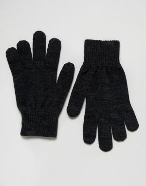 Levis Темно-серые перчатки для сенсорных гаджетов. Цвет: серый