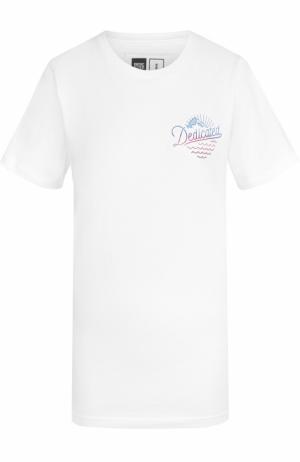 Удлиненная футболка с принтом Dedicated. Цвет: белый