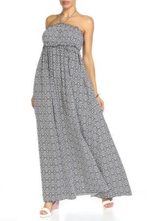 Платье длинное ВЕНДЕТТА. Цвет: принт черный