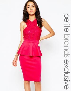 Lipstick Boutique Petite Кружевное облегающее платье с запахом и баской Petit. Цвет: красный