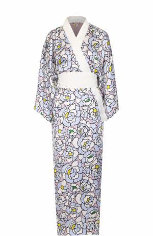 Шелковый халат с поясом Olivia Von Halle. Цвет: разноцветный