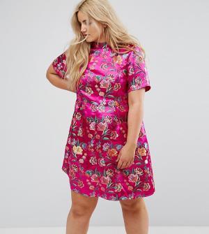 Alice & You Парчовое платье с высоким воротом и вышивкой. Цвет: розовый