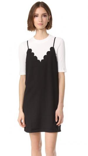 Базовое платье из двух частей с зубчатой отделкой ENGLISH FACTORY. Цвет: черный/белый