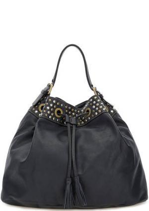 Синяя кожаная сумка с металлическим декором Io Pelle. Цвет: синий