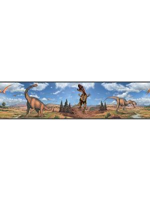 Наклейки для декора - Динозавры, орнамент ROOMMATES. Цвет: белый, голубой, желтый, зеленый, красный, оранжевый, серый, синий, черный