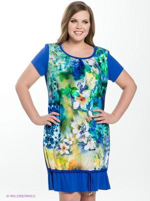 Платье Amelia Lux. Цвет: синий, молочный