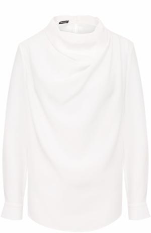 Шелковая блуза с драпировкой Kiton. Цвет: белый