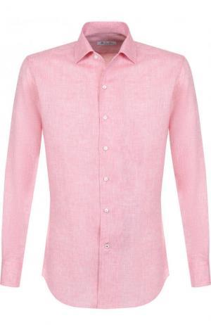 Льняная рубашка с воротником кент Loro Piana. Цвет: розовый