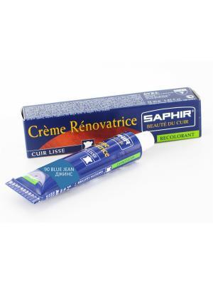 Восстановитель кожи Creme RENOVATRICE, 25 мл. (жидкая кожа)(90 голубая джинса ) Saphir. Цвет: серо-голубой