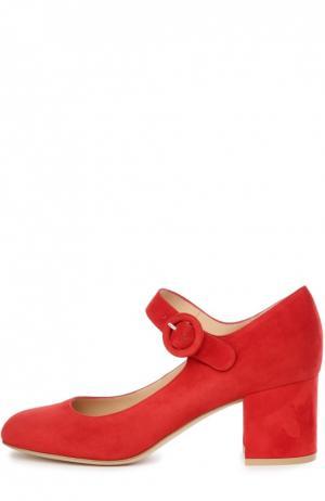 Замшевые туфли на устойчивом каблуке Gianvito Rossi. Цвет: красный
