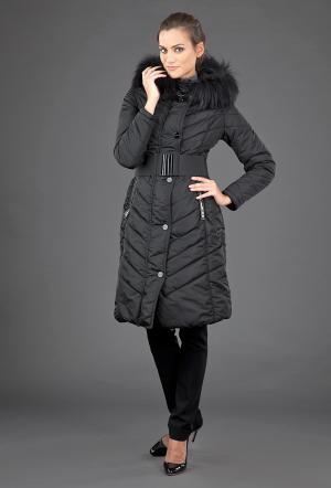 Приталенное теплое пальто  с отстегивающимся мехом FLO-CLO. Цвет: черный
