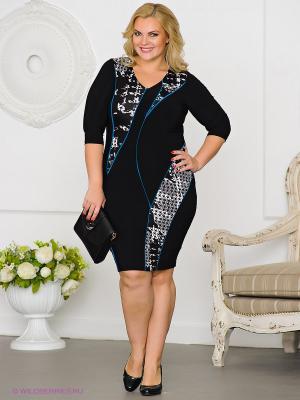 Платье Gemko plus size. Цвет: черный, синий, белый