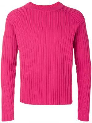Свитер в рубчик с круглым вырезом под горло Ami Alexandre Mattiussi. Цвет: розовый и фиолетовый