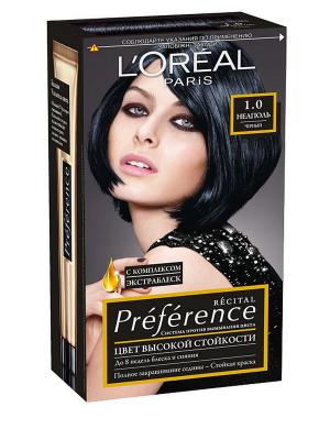 Стойкая краска для волос Preference, оттенок 1.0, Неаполь L'Oreal Paris. Цвет: черный