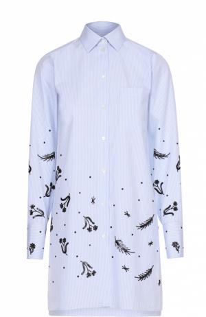 Удлиненная блуза с накладным карманом и контрастной отделкой Valentino. Цвет: голубой