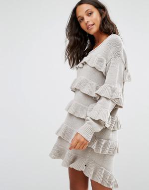 One Teaspoon Платье-джемпер с оборками Eldorado. Цвет: серый