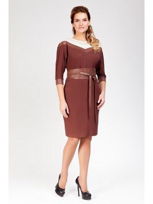 Платье Amelia Lux. Цвет: коричневый, молочный