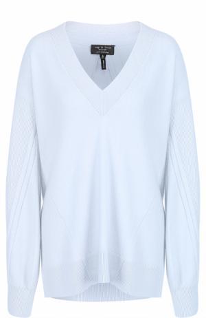Кашемировый пуловер с V-образным вырезом Rag&Bone. Цвет: синий