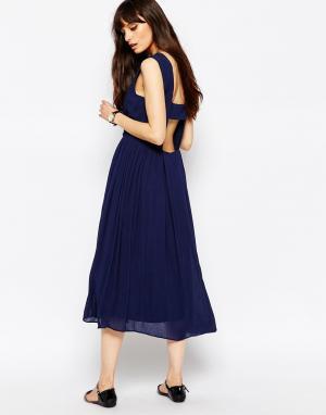 Paisie Хлопковое платье миди с открытой спиной. Цвет: темно-синий