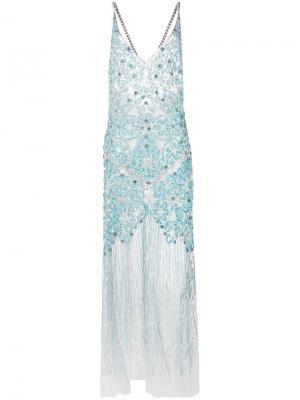 Длинное платье-комбинация с блестящей отделкой Amen. Цвет: синий