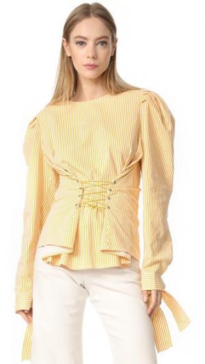 Блуза в полоску с корсетом Style Mafia. Цвет: желтый