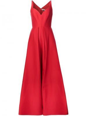 Приталенное вечернее платье Halston Heritage. Цвет: красный