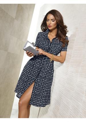 Платье PATRIZIA DINI. Цвет: темно-синий/белый