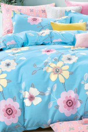 Постельное белье Евро Patricia. Цвет: голубой, желтый, розовый