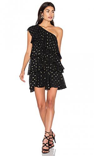 Платье с рюшами на одно плечо Cynthia Rowley. Цвет: черный