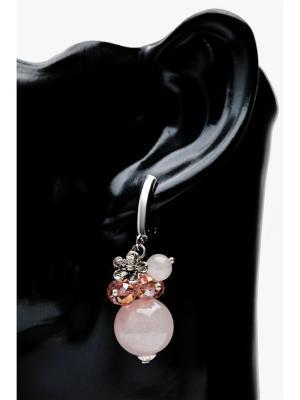 Серьги Розовый кварц Anastasiya Usoltseva. Цвет: бледно-розовый, белый, розовый