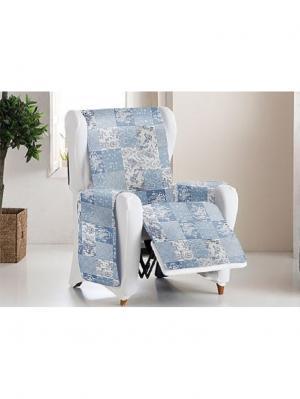 Накидка на кресло Йорк печворк Медежда. Цвет: серо-голубой