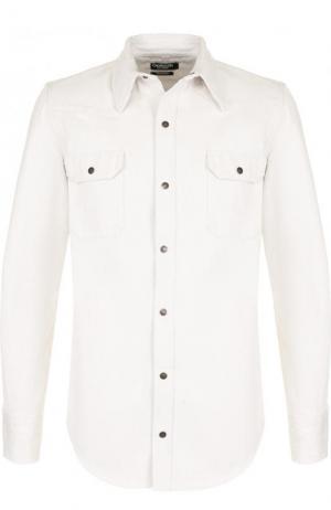 Джинсовая рубашка на кнопках CALVIN KLEIN 205W39NYC. Цвет: белый