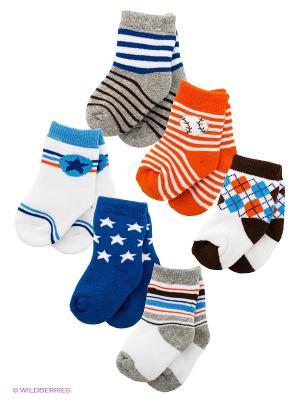 Носки, 6 пар Luvable Friends. Цвет: синий, оранжевый, белый, серый