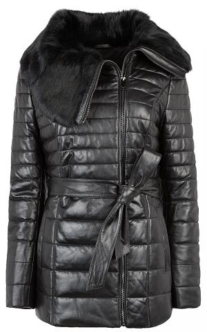 Куртка из натуральной кожи с поясом и отделкой мехом кролика La Reine Blanche