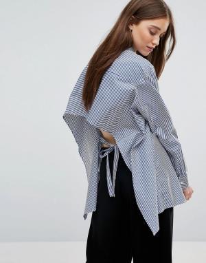 Weekday Рубашка в полоску с открытой спиной. Цвет: мульти