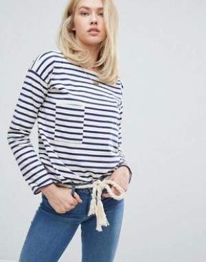 MiH Jeans Лонгслив в бретонскую полоску с карманом. Цвет: темно-синий