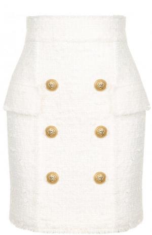 Буклированная мини-юбка с завышенной талией Balmain. Цвет: белый