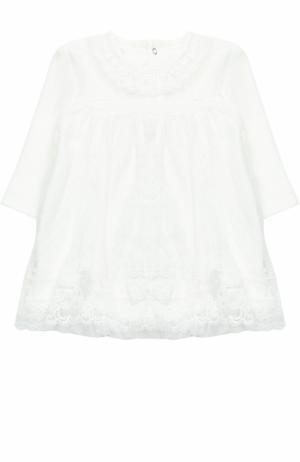 Хлопковое платье с кружевной отделкой Aletta. Цвет: кремовый