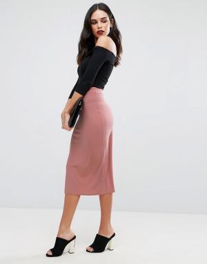 Love Трикотажная юбка миди. Цвет: розовый