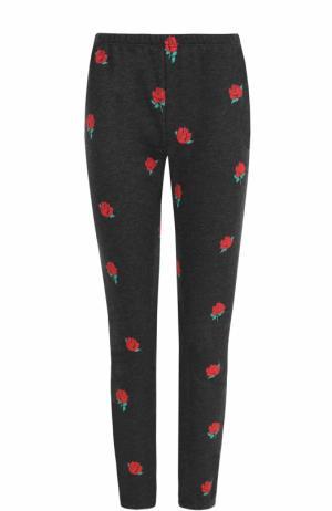 Укороченные хлопковые брюки с принтом Wildfox. Цвет: черный