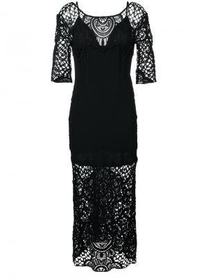 Платье с кружевными панелями For Love And Lemons. Цвет: чёрный