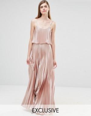 True Violet Платье 2-в-1 с плиссировкой. Цвет: розовый