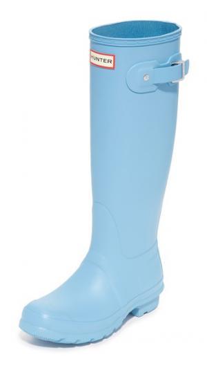 Оригинальные высокие сапоги Hunter Boots. Цвет: голубой